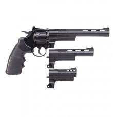 "Triple Threat CO2 Powered, Semi-Auto Dual Ammo Air Revolver, 3"" , 6"" and 8"" Barrel"