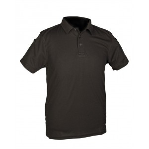 Mil-Tec BLACK TACTICAL SHORT SLEEVE POLO SHIRT QUICKDRY